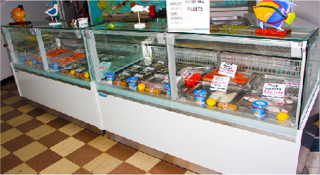 Arctic Ice Cold Display Fridge Cabinets for Fish and Meat Markets
